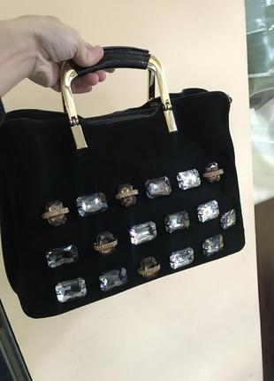 Кожаная сумка сумка кожаная замшевая с камнями
