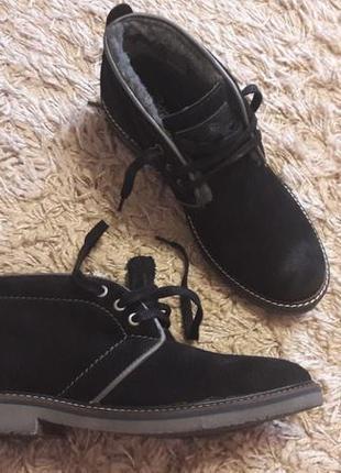 Мужские классические зимние ботинки натуральная замша+шерсть respect португалия