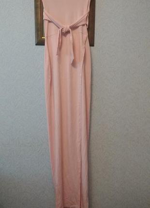 Платье макси джерси нюдового розового цвета  юбка- на запах