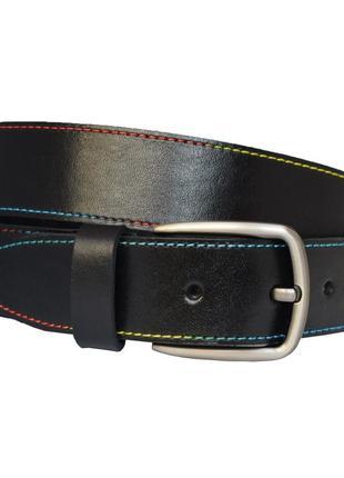 Rainbow кожаный женский ремень черный с цветной строчкой  пояс для джинсов пасок ремінь