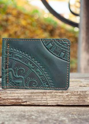 Зажим для денег кожаный темно-зеленый с орнаментом