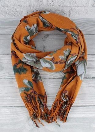 Кашемировый шарф, палантин горчичный cashmere 7580-3