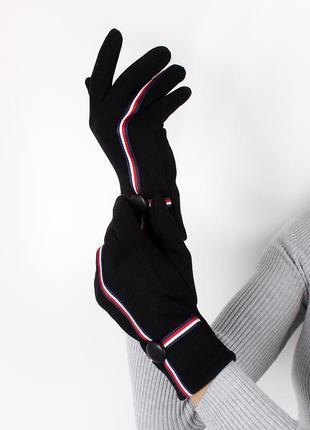 Перчатки черные с тесьмой