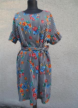 Платье полосатое в цветы