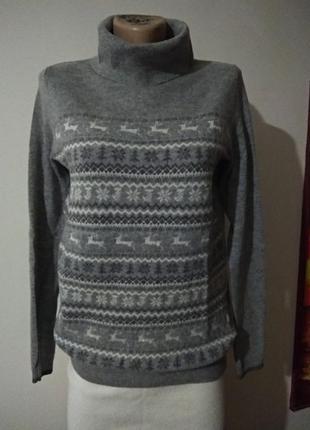 Свитер с воротом knit wear  80 % лама шерсть зимний принт