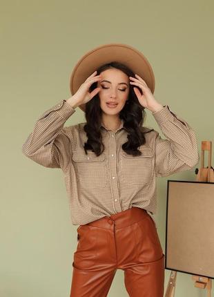 Женская модная вельветовая рубашка на кнопках расцветка гусиная лапка