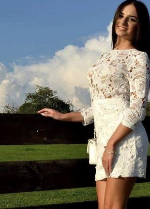 Гипюрове молочне плаття