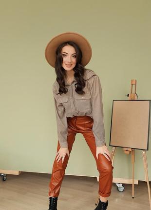 Женская модная вельветовая рубашка на кнопках расцветка гусиная лапка3 фото