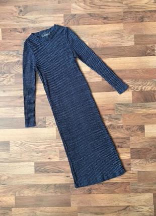 Стильное синее платье в рубчик с рукавом размер xs