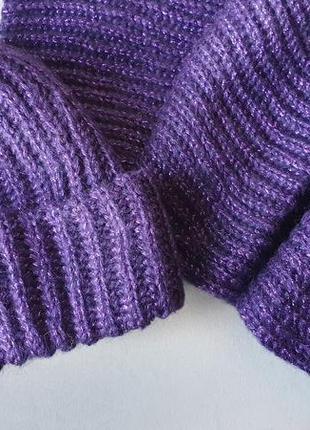 Комплект фиолетовый шапка шарф теплый