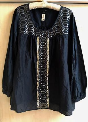 Блуза вышиванка с вышивкой с паетками батал нарядная
