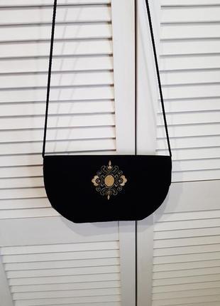 Стильная бархатная велюровая черная сумка