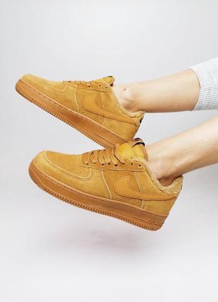 Шикарные меховые кроссовки nike air force /осень/зима/весна😍