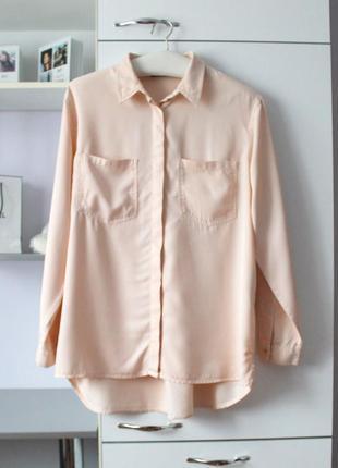 Персиковая плотная оверсайз рубашка от zara