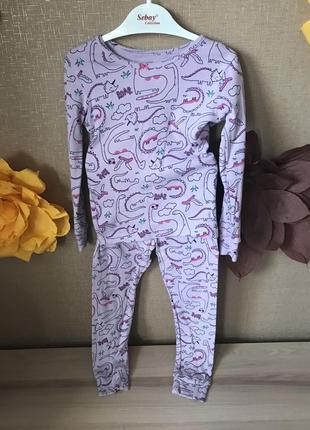 Пижама carter's для девочки 5т. для ценительницы динозавров, больших и маленьких.