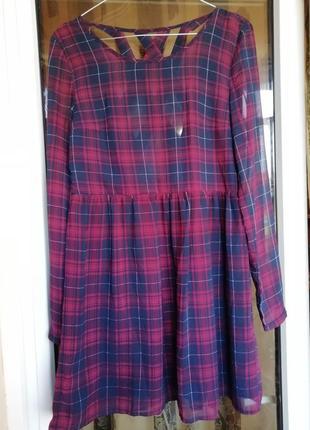 Платье в клетку клеточку красное/бордовое новый год новогоднее h&m