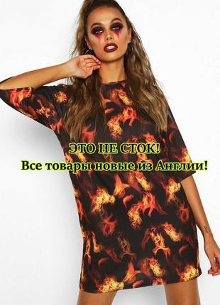 Boohoo. товар из англии. платье футболка с пылающим принтом.