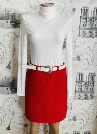 Стильная тёплая яркая шерстяная юбка мини