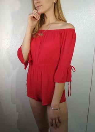Красный яркий боди ромпер на плечи от new look