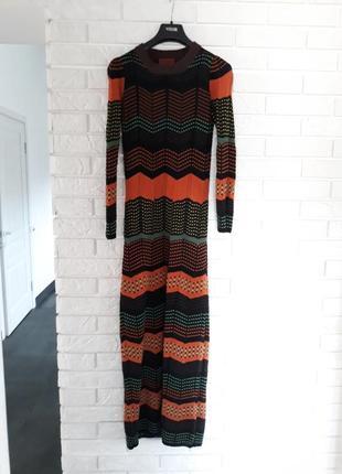 Вязаное платье в стиле missoni, 100% шерсть, р.s