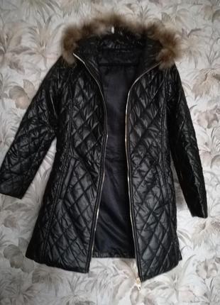 Пальто стеганный кож. зам