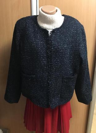 """Нарядный вечерний жакет кардиган пиджак с блеском в стиле """"шанель""""с карманами размер 18"""