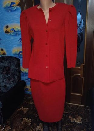 Костюм з люрексом теплий напівшерстяний спідниця піджак костюм теплый пиджак юбка