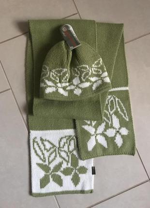 Набор шапка+шарф зимний шерстяной pawonex польша
