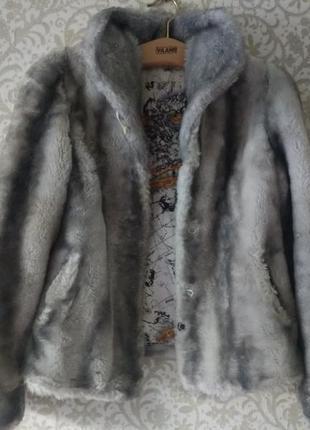 8-10 классная искусственная шубка полушубок короткая шуба под мех хаски
