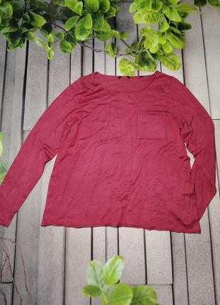 Базовый пуловер из мягкого трикотажа ягодного цвета
