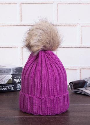 13-33 плотная яркая очень красивая вязаная шапка с помпоном