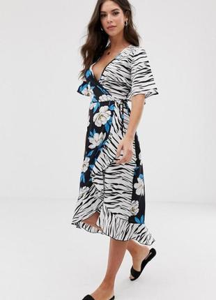 Чарівна сукня на запах принт квіти + зебра