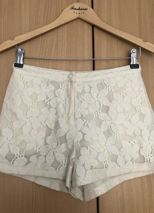 Летние шорты молочного цвета с высокой талией короткие гипюровые