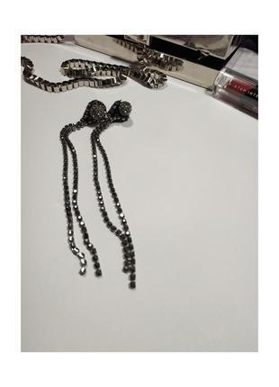 Длинные серьги медузы из страз 14 см, цвет гематит