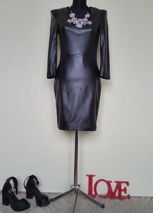 Шикарное кожаное платье с трикотажными вставками