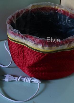 Термошапка электрическая сушуар для ламинирования лечения волос красная