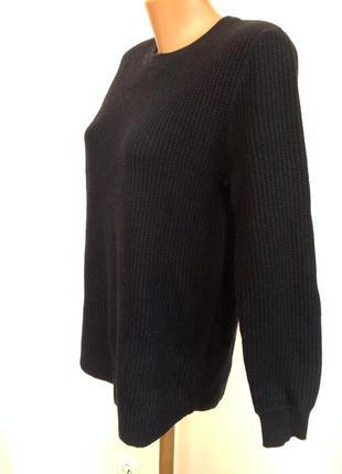 Темно-синий базовый свитшот от бренда h& m- s/шерсть 30%