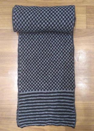 Мужской шерстяной черно-серый шарф в клетку