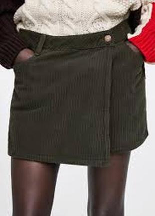 Крутые плотные вельветовые юбка-шорты бермуды zara - c
