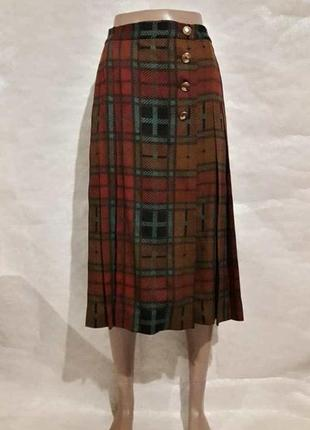 Фирменная yves saint laurent шерстянная юбка миди плиссе на запах в клетку, размер 2хл