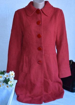 Брендовое красное демисезонное шерстяное пальто с карманами papaya