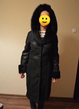 Длинная дублёнка женская, настоящая овечья шкура. размер 44. довга дублянка жіноча, чорна.