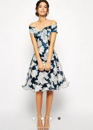 Chi chi london платье вечернее миди пышное бирюзовое в белый цветочный принт
