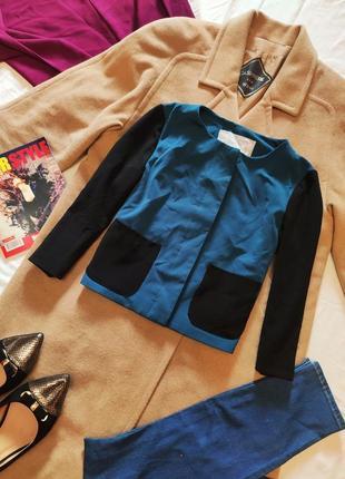 Пиджак бирюзовый с чёрным руаав 3/4 шифоновый с карманами