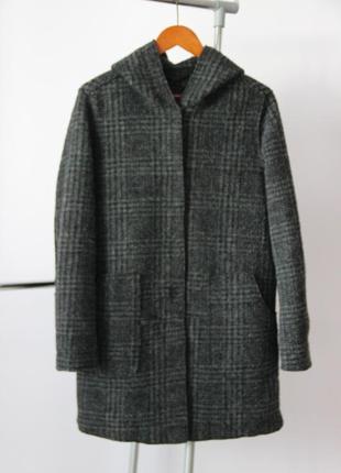 Шерстное пальто с капюшоном opus 30% шерсти