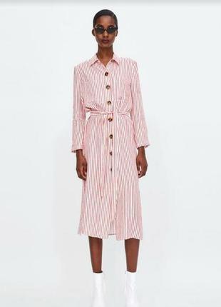 Льняное платье рубашка в полоску zara xs