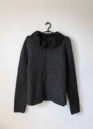 Шерстяной / шерстяний светр з шовковим коміром cos - l