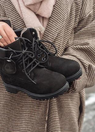 Шикарные женские зимние ботинки timberland black 😍 (на меху)