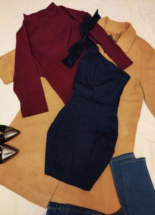 French connection платье тёмно синее на одно плечо коктейльное с бантом коттон хлопок