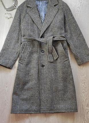 Серое в принт гусиная лапка халат клетку зимнее шерстяное пальто с поясом длинное в пол